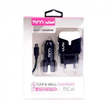 شارژر دیواری تسکو مدل TTC 41 به همراه شارژر فندکی و کابل microUSB