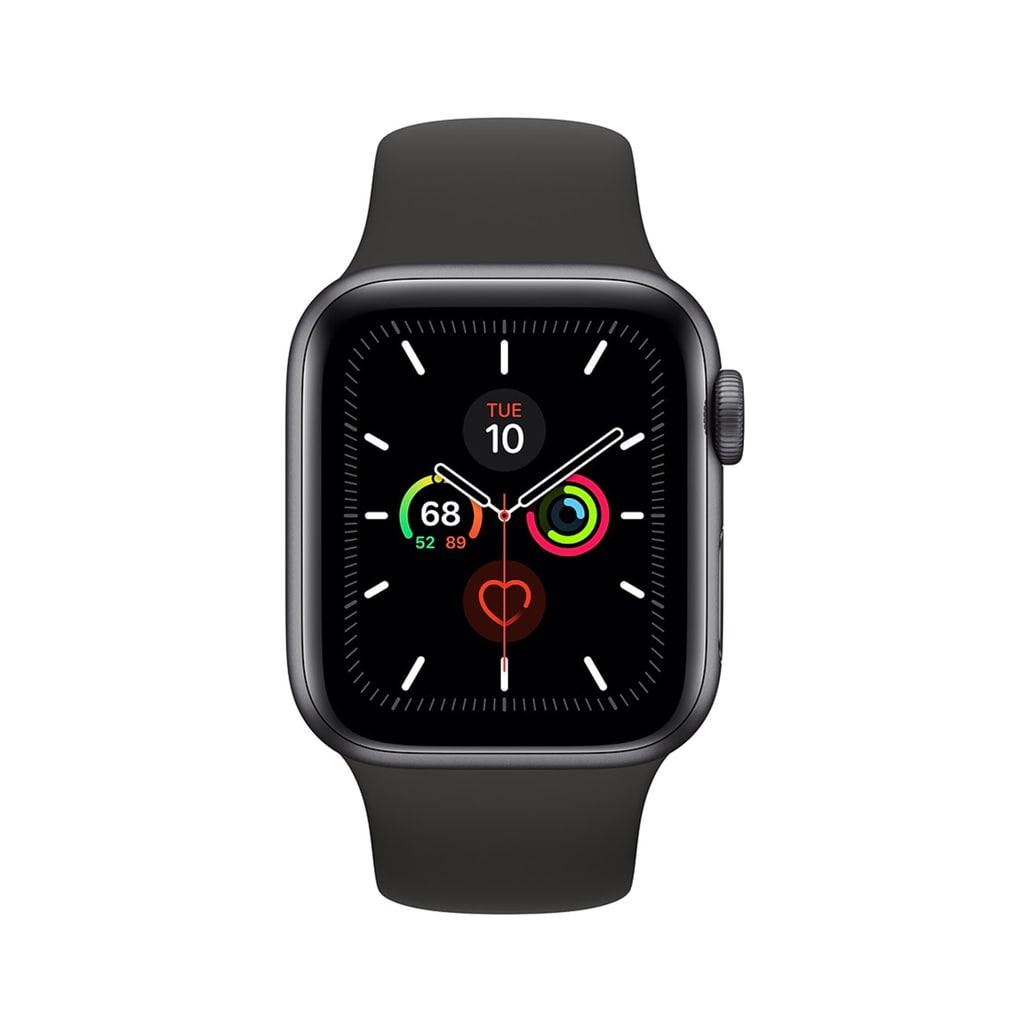 ساعت هوشمند اپل واچ سری 5 مدل 44 میلی متری بدنه آلومنیومی خاکستری با بند اسپورت مشکی