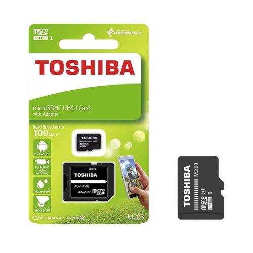 کارت حافظه microSDHC توشیبا مدل M203 کلاس 10 استاندارد UHS-I سرعت 100MBps ظرفیت 128 گیگابایت به همراه آداپتور