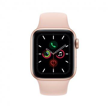 ساعت هوشمند اپل واچ سری 5 مدل 40 میلی متری بدنه آلومنیومی طلایی با بند اسپورت صورتی