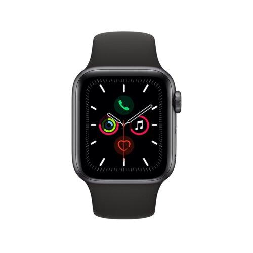 ساعت هوشمند اپل واچ سری 5 مدل 40 میلی متری بدنه آلومنیومی خاکستری با بند اسپورت مشکی