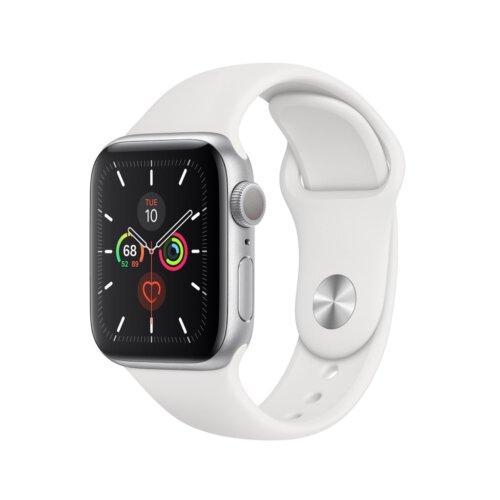 ساعت هوشمند اپل واچ سری 5 مدل 44 میلی متری بدنه آلومنیومی نقره ای با بند اسپورت سفیدساعت هوشمند اپل واچ سری 5 مدل 44 میلی متری بدنه آلومنیومی نقره ای با بند اسپورت سفید
