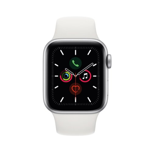 ساعت هوشمند اپل واچ سری 5 مدل 44 میلی متری بدنه آلومنیومی نقره ای با بند اسپورت سفید