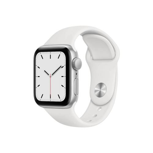ساعت هوشمند اپل واچ سری SE مدل 44 میلی متری بدنه آلومنیومی نقره ای با بند لاستیکی سفید