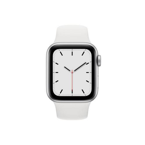 ساعت هوشمند اپل واچ سری SE مدل 40 میلی متری بدنه آلومنیومی نقره ای با بند لاستیکی سفید